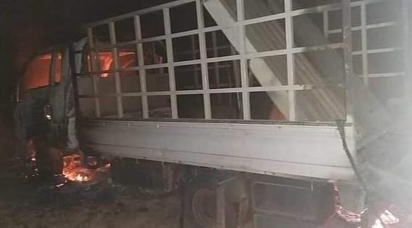 شاحنة متضررة من القصف الصاروخي الذي استهدف إربيل (تويتر)