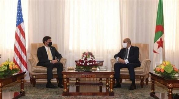 الرئيس الجزائري عبدالمجيد تبون يستقبل وزير الدفاع الأمريكي مارك إسبر (وكالة الأنباء الجزائرية)
