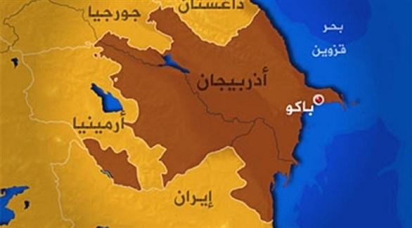 خريطة تظهر الحدود بين أذربيجان وإيران (أرشيف)
