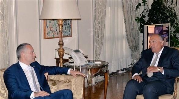 وزير الخارجية المصري سامح شكري ومنسق الأمم المتحدة نيكولاي ملادينوف (تويتر)