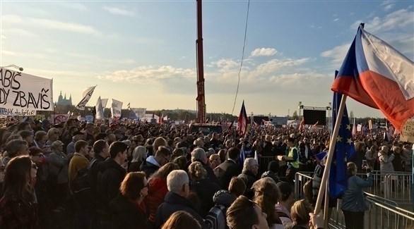 محتجون في التشيك ضد قيود كورونا(أرشيف)