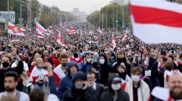 متظاهرو في بيلاروسيا ضد الرئيس ألكسندر لوكاشينكو (أ ف ب)