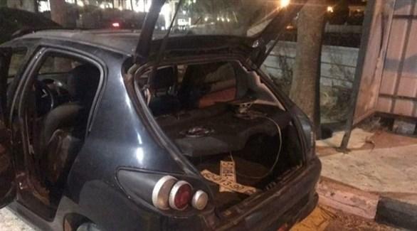سيارة الشاب الفلسطيني بعد اطلاق النار عليها