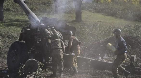 قوات أرمينية تقصف مواقع أذربيجانية في ناغورنو قرة باغ (أ ف ب)