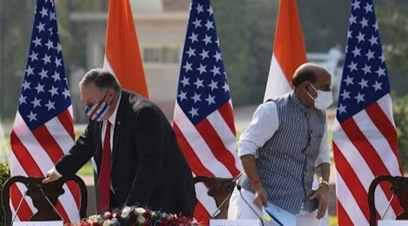وزير الدفاع الهندي ووزير الخارجية الأمريكي (أ ف ب)