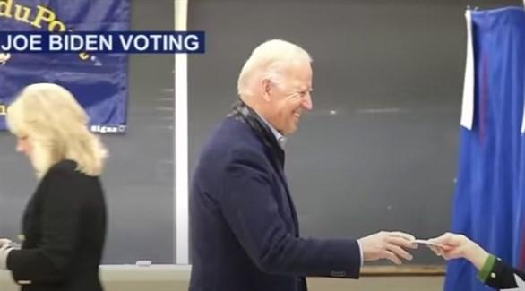 جو بايدن يدلي بصوته اليوم في ديلاوير (تويتر)