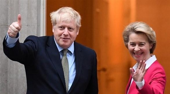 رئيس الوزراء البريطاني جونسون ورئيسة المفوضية الأوروبية فون دير لايين (أرشيف)