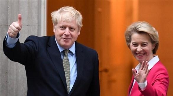 رئيس الوزراء البريطاني بوريس جونسون ورئيسة المفوضية الأوروبية أورسولا فون دير لاين