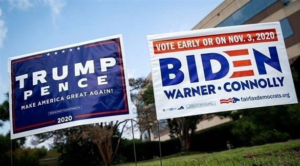 لوحات دعائية لحملتي ترامب وبايدن في أمريكا (أرشيف)