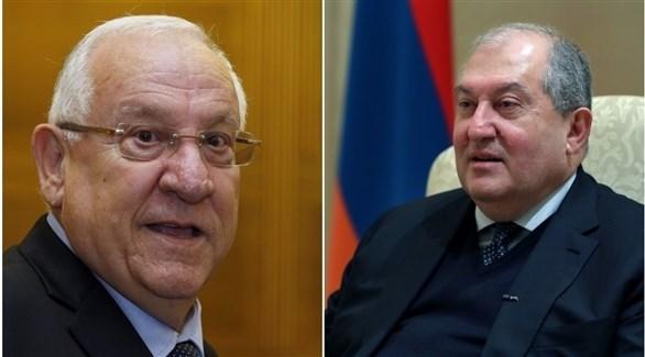 رئيس أرمينيا أرمين سركيسيان ونظيره الإسرائيلي رؤوفين ريفلين (أرشيف)