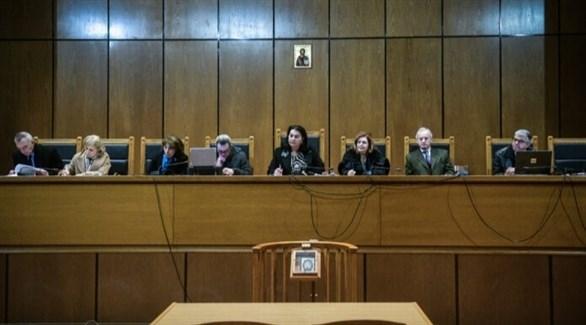 جانب من محاكمة زعماء حزب الفجر الذهبي في اليونان (توتير)