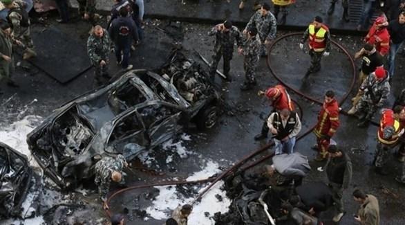 موقع الانفجار الذي استهدف موكب الحريري (أرشيف)