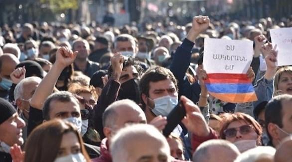 أرمن يتظاهرون ضد اتفاق السلام مع أذربيجان (أ ف ب)