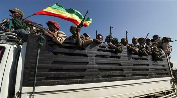 مقاتلون تيغراي في الطريق إلى الجبهة للقتال ضد الجيش الفدرالي الإثيوبي (أرشيف)