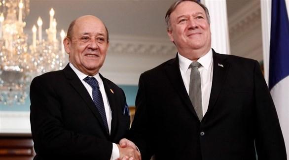 وزيرh الخارجية الفرنسي جان إيف لودريان والأمريكي مايك بومبيو (أرشيف)