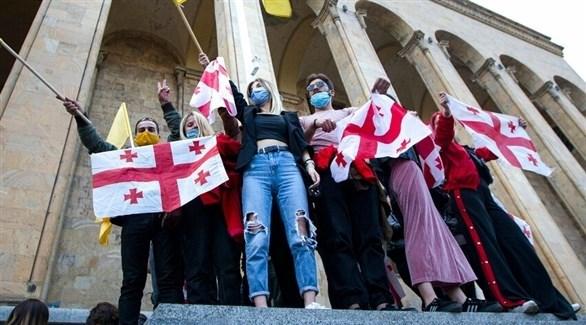 جانب من التظاهرات في تبيليسي (أرشيف)