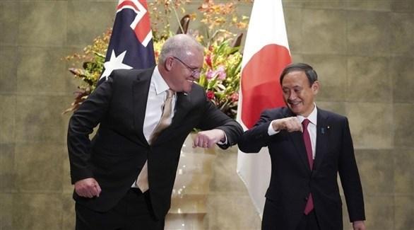 رئيس الوزراء الياباني يوشيهيدي سوغا ونظيره الأسترالي سكوت موريسون (أرشيف)