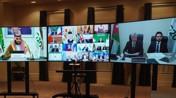 العاهل الأردني متحدثاً أمام المشاركين في قمة العشرين (تويتر)