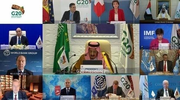 الملك سلمان متحدثاً خلال قمة العشرين (أرشيف)