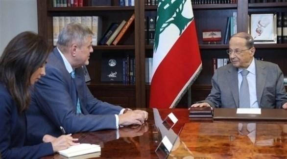 الرئيس اللبناني العماد ميشال عون والمنسق الأممي يان كوبيتش (تويتر)