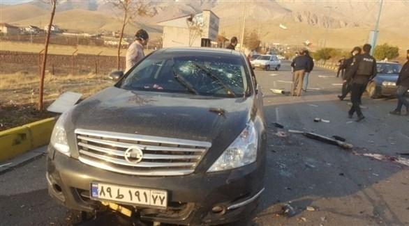 سيارة فخري زاده بعد استهدافها (تويتر)