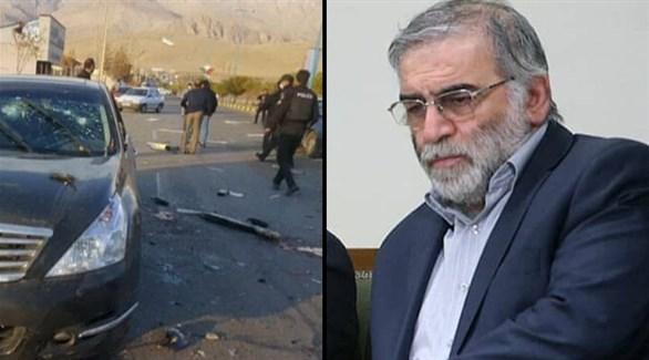الإيراني محسن فخري زاده وعناصر من الشرطة الإيرانية حول سيارته بعد استهدافها (تويتر)