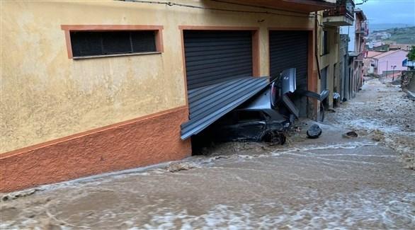 جانب من الأضرار التي خلفتها الفيضانات (الأوروبية)