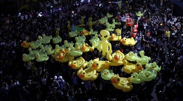 جانب من التظاهرات المؤيدة للديمقراطية في تايلاند (أرشيف)