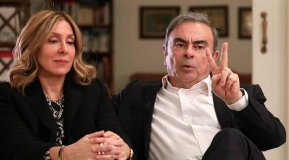 رئيس نيسان ورينو السابق كارلوس غصن وزوجته (أرشيف)