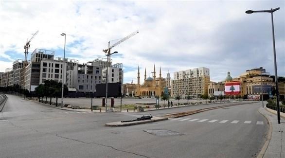 وسط بيروت خال من المارة بسبب الإغلاق (إ ب أ)