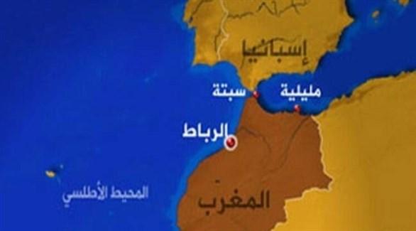 خريطة توضح مكان مدينتي سبتة ومليلية (أرشيف)