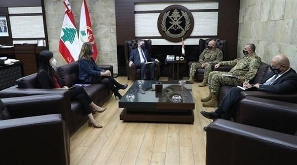 قائد الجيش اللبناني خلال اللقاء (وسائل إعلام لبنانية)