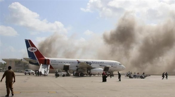من استهداف مطار عدن (تويتر)