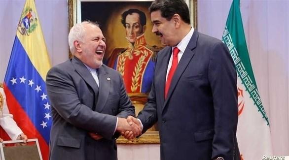 الرئيس الفنزويلي نيكولاس مادورو ووزير الخارجية الإيراني جواد ظريف (أرشيف)