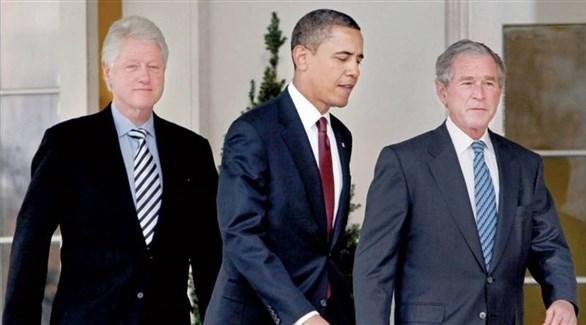 جورج دبليو بوش وباراك أوباما  وبيل كلنتون (أرشيف)