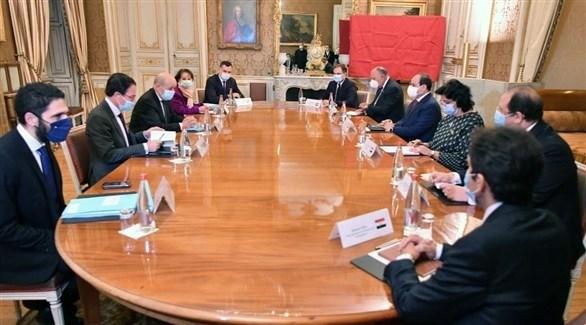 اجتماع الرئيس المصري عبدالفتاح السيسي مع وزير الخارجية الفرنسي جان إيف لودريان (أرشيف)