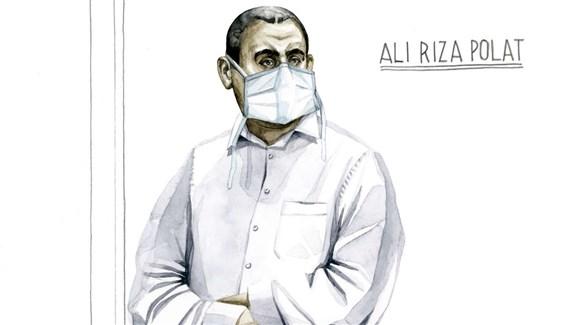 رسم باليد في المحكمة للمتهم الرئيسي علي رضا بولات (لوموند)
