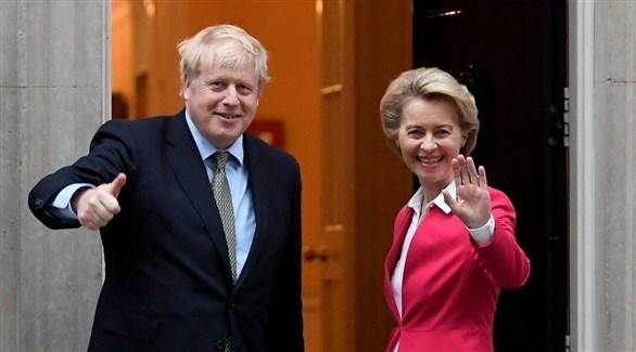 رئيس الوزراء البريطاني بوريس جونسون ورئيسة المفوضية الأوروبية اورسولا فون دير (أرشيف)