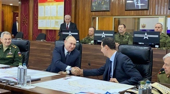 الرئيس السوري بشار الأسد يلتقي نظيره الروسي فلاديمير بوتين في دمشق (تويتر)