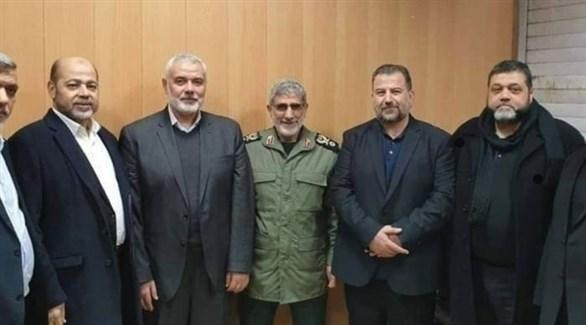 قائد فيلق القدس إسماعيل قآني يلتقي قادة من حماس (أرشيف)