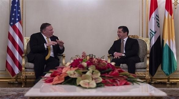 اجتماع سابق رئيس حكومة إقليم كردستان العراق مسرور بارزاني ووزير الخارجية الأمريكي مايك بومبيو في أربيل (أرشيف)
