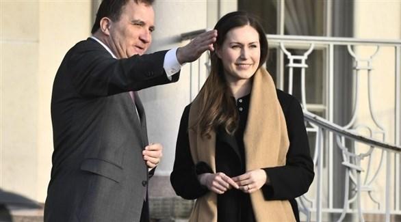 رئيس وزراء السويد ستيفان لوفين، ونظيرته الفنلندية سانا مارين (أرشيف)