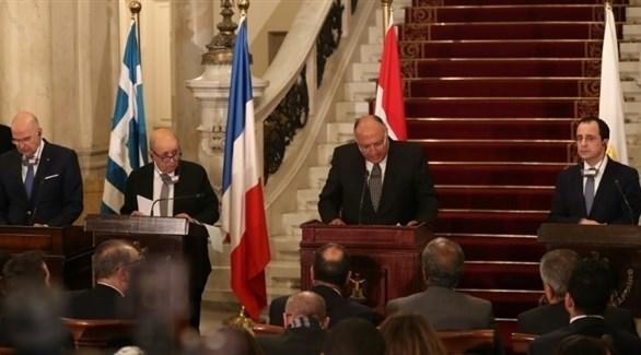 مؤتمر صحافي لوزراء خارجية اليونان ومصر وفرنسا وقبرص (أ ف ب)