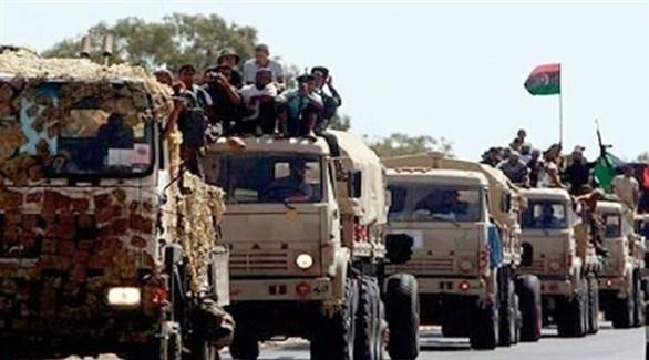 قافلة عسكرية للجيش الوطني الليبي على مشارف العاصمة طرابلس (أرشيف)
