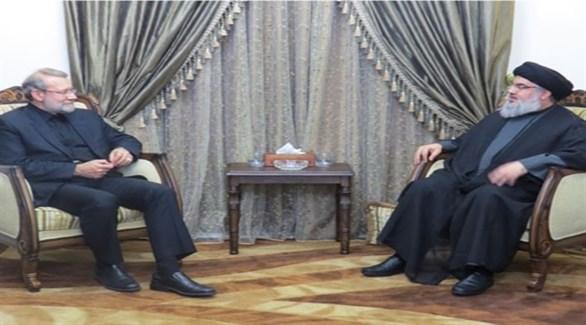زعيم حزب الله اللبناني حسن نصرالله ورئيس البرلمان الإيراني علي لاريجاني (أرشيف)