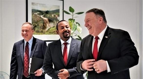 وزير الخارجية الأمركي مايك بومبيو ورئيس الوزارء الأثيوبي أبي أحمد (تويتر)