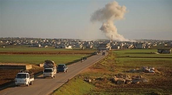 قصف جوي في إحدى القرى القريبة من حلب (أرشيف)