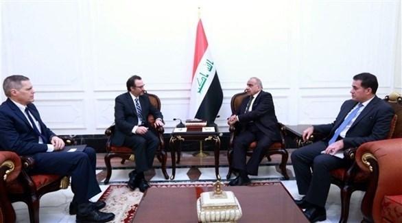 مساعد وزير الخارجية الأمريكي شينكر ورئيس الوزراء العراقي عبد المهدي (السومرية نيوز)