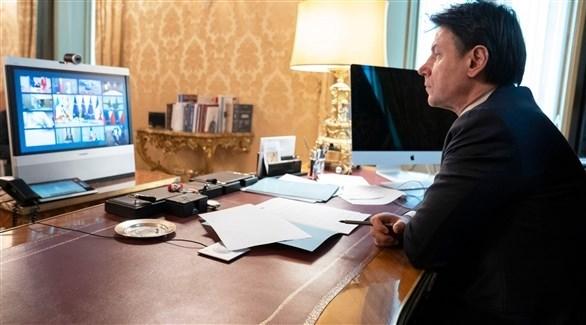 رئيس الوزراء الايطالي في اجتماع عن بعد (اي بي ايه)
