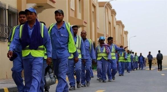 عمال بناء في قطر (أرشيف)